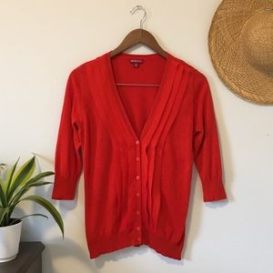 2/$15 Red 3/4 Sleeve Cardigan With Chiffon Detail